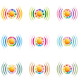 the rainbow signal colour circle symbol icon vector image vector image