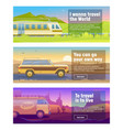 travel for train car bus banner set mountain vector image