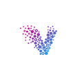 v particle letter logo icon design vector image