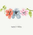 watercolor flowers greeting card vector image