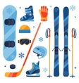 Winter sports equipment icons set in flat design vector image vector image