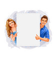 woman and man holding a poster on white background vector image vector image