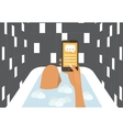 Woman in a bath chating with smartphone Flat vector image vector image