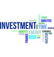 word cloud investment vector image vector image