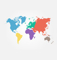 world map with continent flat color design vector image vector image