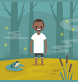 young black character stuck in the swamp flat vector image vector image