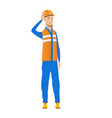 young caucasian builder scratching head vector image vector image