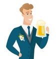 young caucasian groom drinking beer vector image vector image