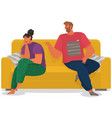 young couple sitting on couch quarreling isolated vector image vector image