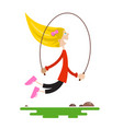 young girl jumping with jump rope flat design vector image vector image