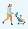 young woman with a baby carrier vector image