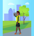 african female walking with radio in city vector image vector image
