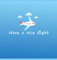airplane flying in sky with clouds vector image