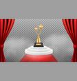 award background golden trophy on white podium vector image vector image