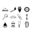 bbq food equipment utensils icons set vector image