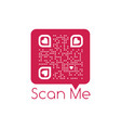 be my valentine text qr code in red chat bubble vector image vector image