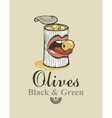 black and green olives vector image