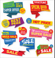 collection of sale stickers and tags origami vector image vector image