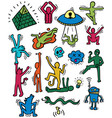 crazy cartoon characters set vector image vector image