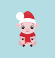 cute smiling little pig in a christmas hat vector image vector image