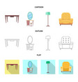design of furniture and apartment sign vector image vector image