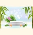 display podium exotic flowers bamboo palm tree vector image vector image