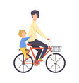 father and his son riding bicycle vector image vector image