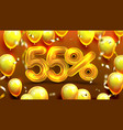 fifty five percent or 55 marketing offer vector image vector image
