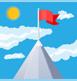 flag on peak of mountain vector image