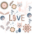 floral card with with an inscription love lovely vector image