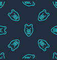 green line bear head icon isolated seamless vector image vector image