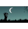 Halloween warlock silhouette at night vector image vector image