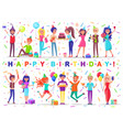 happy birthday people celebrating holiday together vector image vector image