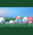 happy easter card with eggs grass flowers bokeh vector image vector image