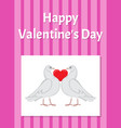 happy valentines day poster with doves hold heart vector image vector image