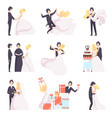 happy wedding couple set bride and groom vector image