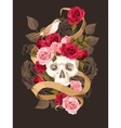 Human skull with roses vector image vector image