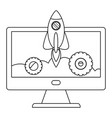 isolated rocket and computer design vector image