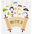 Jewish holiday Purim set of costume accessories vector image vector image