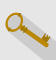 Key Icon with Long Shadow vector image vector image