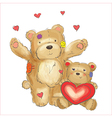 Lovely bears with hearts sketch vector image vector image