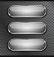 oval glass buttons with chrome frame on metal vector image
