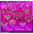 postcard on Valentines day with the heart vector image