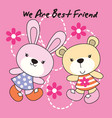 rabbit and bear with flower dot background vector image vector image