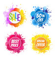 sale banner with color text with blobs white vector image vector image
