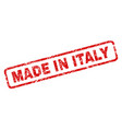 scratched made in italy rounded rectangle stamp vector image