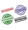 scratched textured physician seal stamps vector image vector image