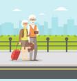 senior couple waiting for transport elderly vector image vector image