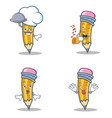 set of pencil character with chef trumpet vector image vector image