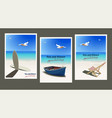 set vintage posters on theme summer vector image